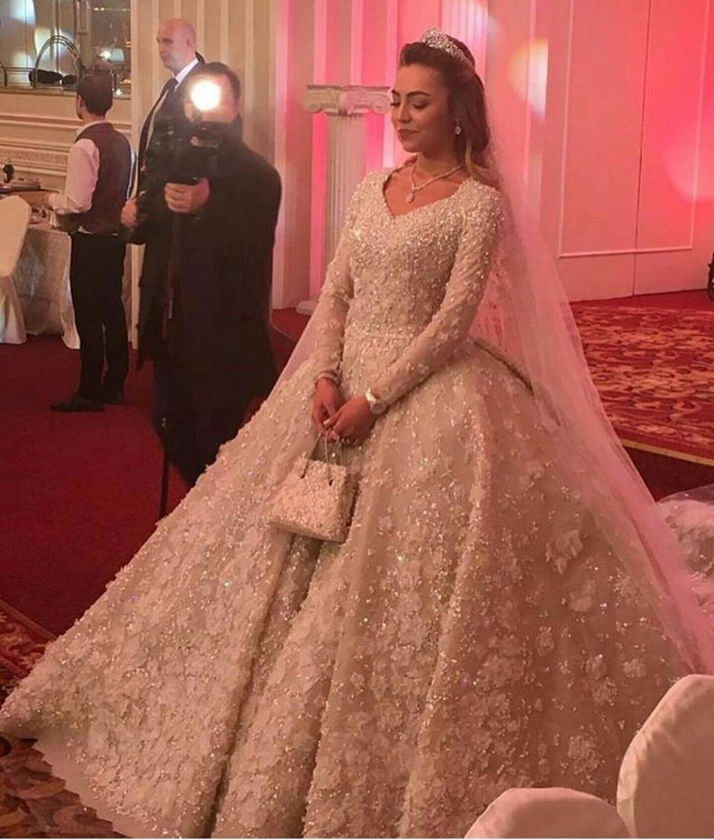 2020 Real Image Long Sleeve Muslim Bridal Gown Flowers Appliques Vestido De Noiva Casamento Lace Mother Of The Bride Dresses