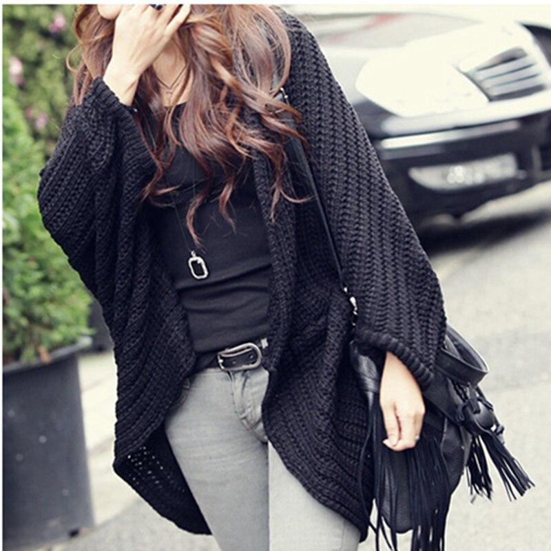 Новое поступление, женские кардиганы в Корейском стиле с рукавами «летучая мышь», свободные, большие размеры, длинная шаль в Корейском стиле, свитер 7567|Кардиганы|   | АлиЭкспресс