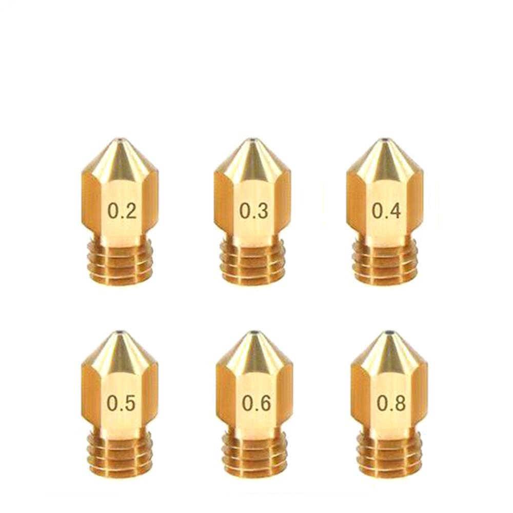 MK7 MK8 Đầu Phun 0.4 Mm 0.3 Mm 0.2 Mm 0.5 Mm Đồng 3D In Phần Giàn Phơi Dây Ren 1.75 Mm 3.0mm Dây Tóc Đầu Đồng Vòi Phun Một Phần