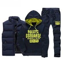 Tracksuit Men Vest Hoodies Coat Sportswear Sweatpants Fleece Winter Man Thicken 3pieces