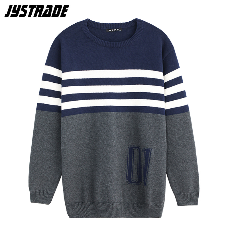 Men's Multicolored Striped Sweater Oversized Long Sleeve Knitted Sweater Male Loose Fit Vintage Warm Pullover Top Autumn Winter