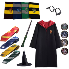 Gryffindor Potter Magic Cloak Cosplay Costume Robe Cape Tie Scarf Wand Glasses Slytherin Costumes Halloween Gifts