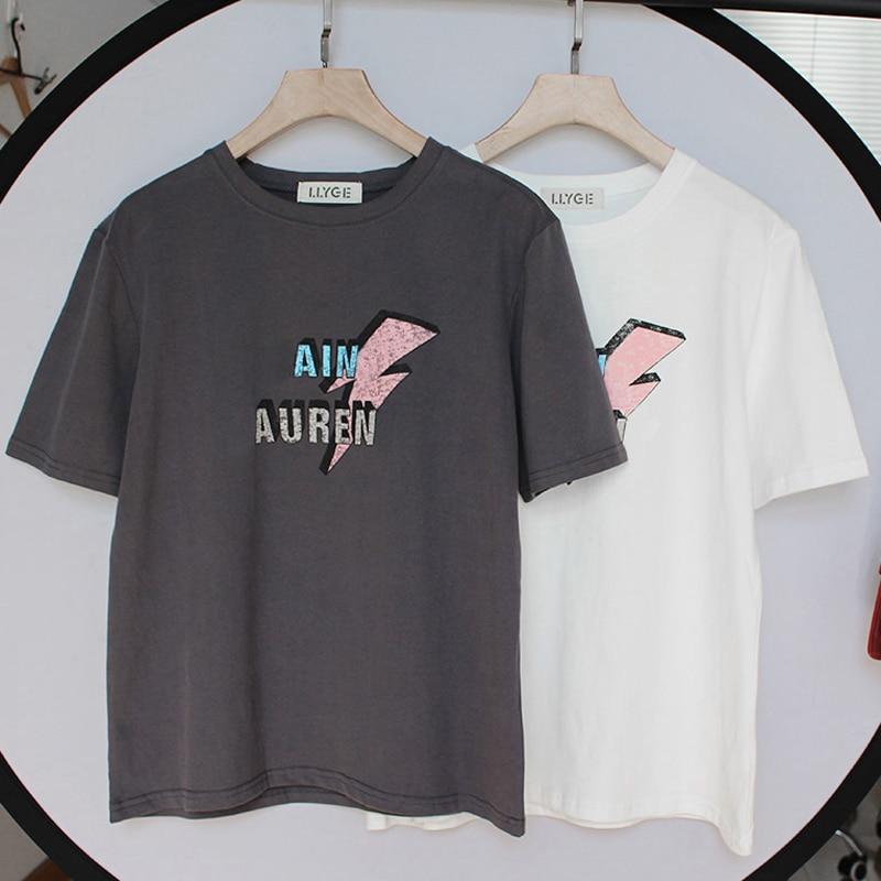 100% Cotton Women's Short Sleeve T-Shirt Tops Letter Print O-Neck Black White T-Shirts Female 2020 Summer Lady Tshirt  IN STOCK