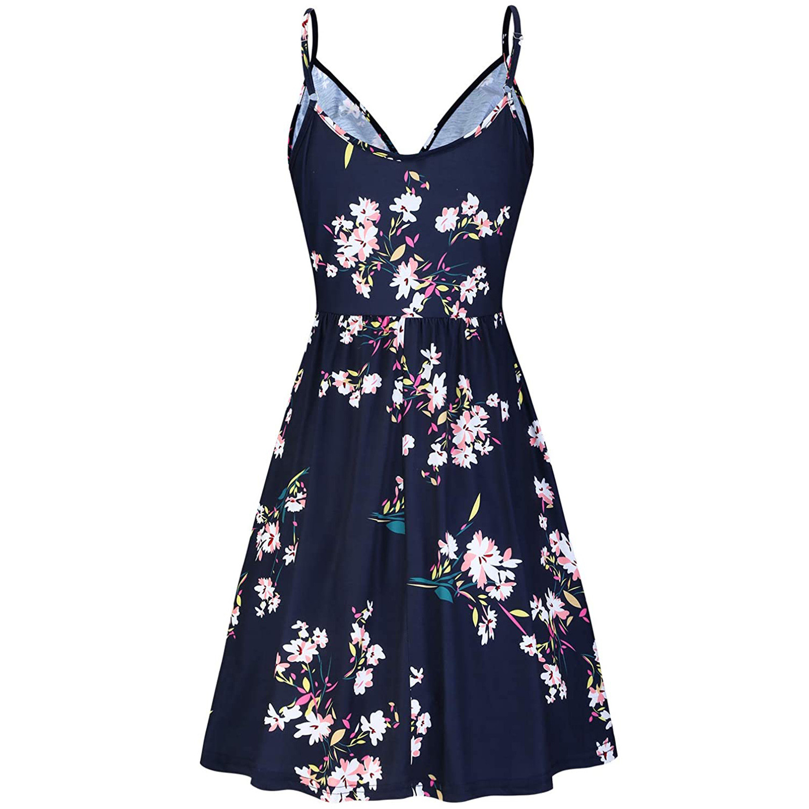 Women's V Neck Floral Spaghetti Strap Summer Casual Swing Dress with Pocket 2