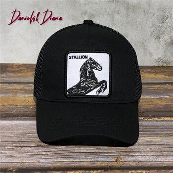 STALLION Horse New Summer trucker cap mesh snapback hip hop hats for men embroidery baseball cap HORSE GREY TRUCKER SPAIN недорого