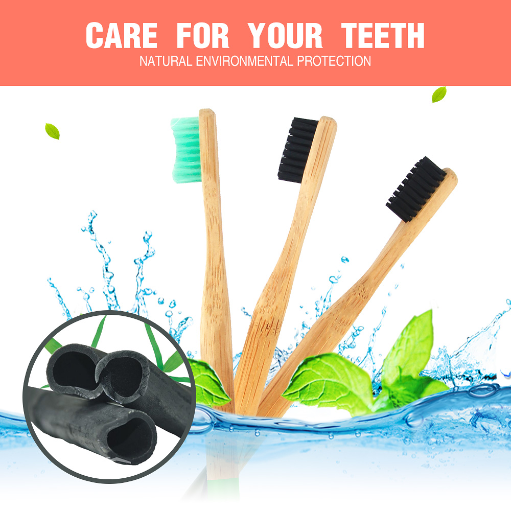 Bamboo Charcoal Toothbrush Soft Bristles Teethbrush Eco-Friendly Oral Care Natural Tooth Brush for Adults