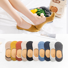 10pieces = 5pairs Ankle Socks for Women Solid Color Invisible Socks Girls Summer Non-slip Shallow Mouth Boat Socks Slipper Socks