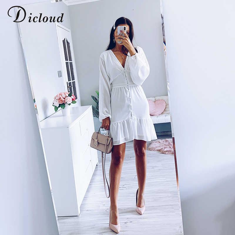 Dicstrong Sexy plongeon col en V femmes automne robe blanc dentelle à manches longues Mini robe de soirée 2019 à volants élégant hiver vêtements