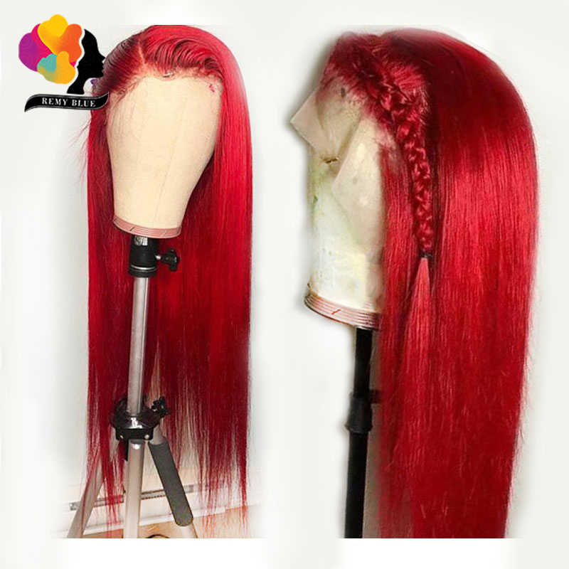 180 Density Red Lace Front Human Hair Wigs Pre Plucked Long Straight Hair Lace Front Wig Peruvian Remy Human Hair Wigs Remyblue