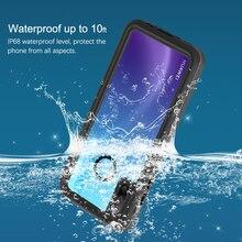 IP68 الغوص مقاوم للماء حقيبة لهاتف أي فون X XS XR XS MAX 5 5s SE 6 6S 7 8 Plus وعرة الغطاء الخلفي واضحة مع واقي للشاشة