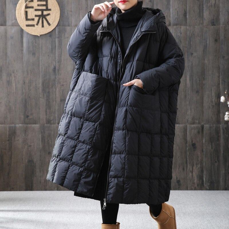 Women Loose Long Coat 90% Duck Down Jacket Winter Female Plus Size Overcoat Winter Jacket Women 2020 Stitching Hooded Parka|Down Coats| - AliExpress