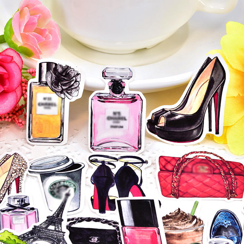 35pcs Exquisite Hand-made Cute Perfume And Luxury Shoes Scrapbooking Decorative Sticker/waterproof Aesthetic Stickers Papeleria