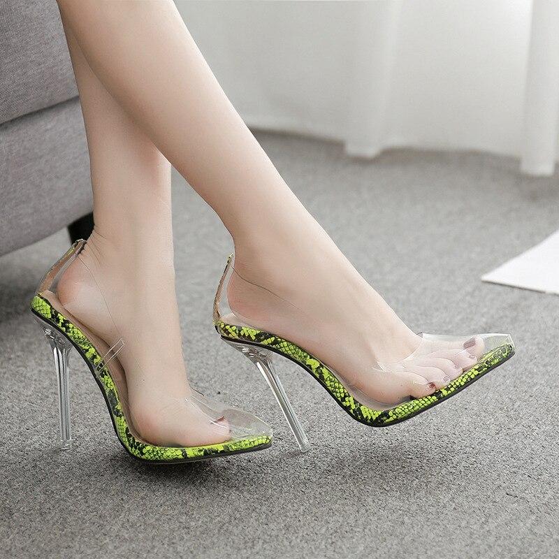 Lady Transparant Clear Blok Hakken Flip Flop Slippers Jelly Sexy Party Sandalen Schoenen Zomer Vrouwen Crystal 11 Cm Hoge Hakken - 5