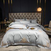Set biancheria da letto in cotone egiziano anni '60 copripiumino ricamato tinta unita biancheria da letto federe per hotel per matrimoni lenzuolo con angoli lenzuolo piatto