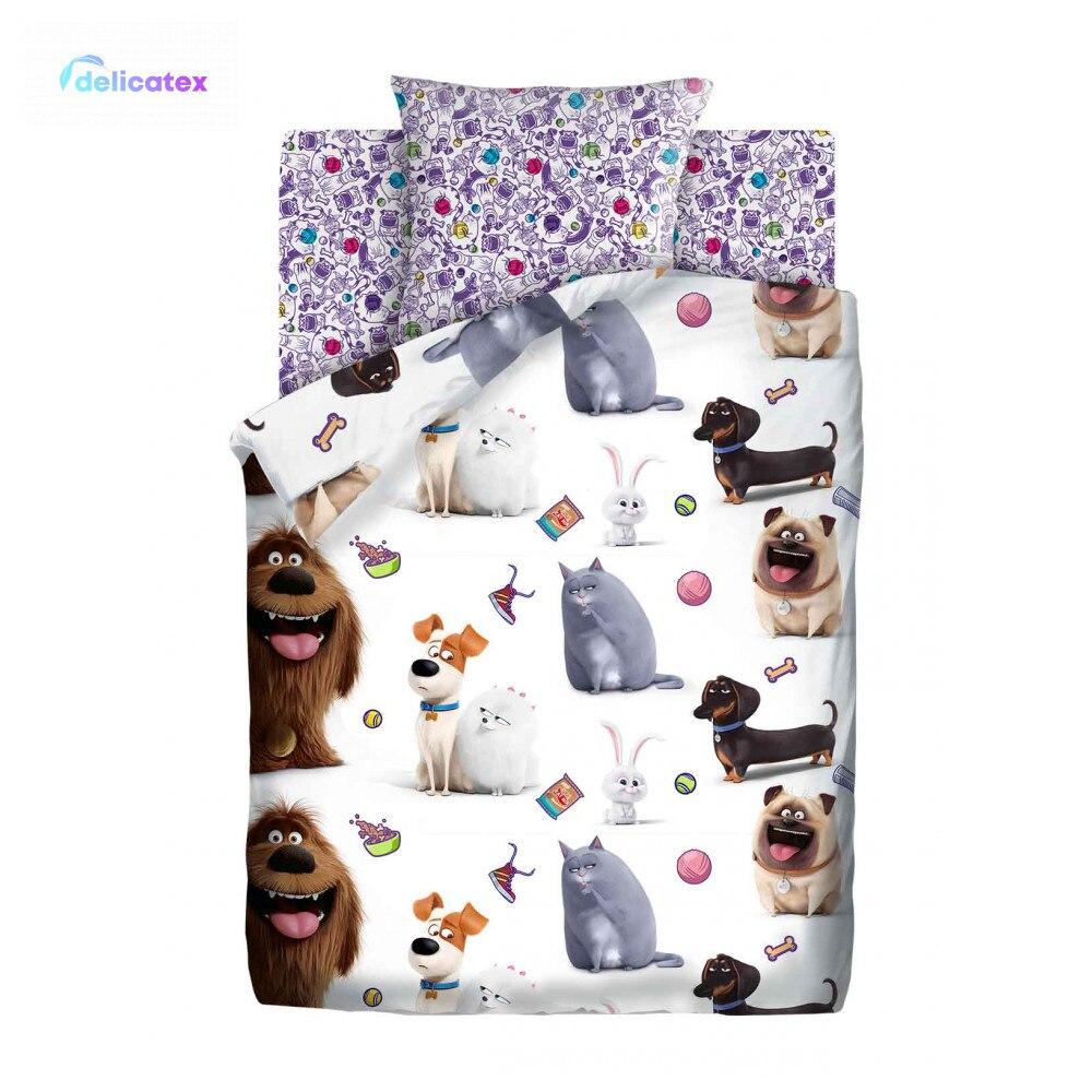 Bedding Sets Delicatex 16173-1+16174-1 Domashnie Pitomtsyi Home Textile Bed Sheets Linen Cushion Covers Duvet Baby Bumper Cotton