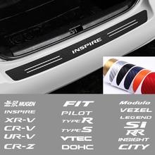 Car Emblem Carbon fiber Trunk rear bumper protection Stickers  For Honda CIVIC City CR-V XR-V HR-V Accord FIT Jazz Type R vtec