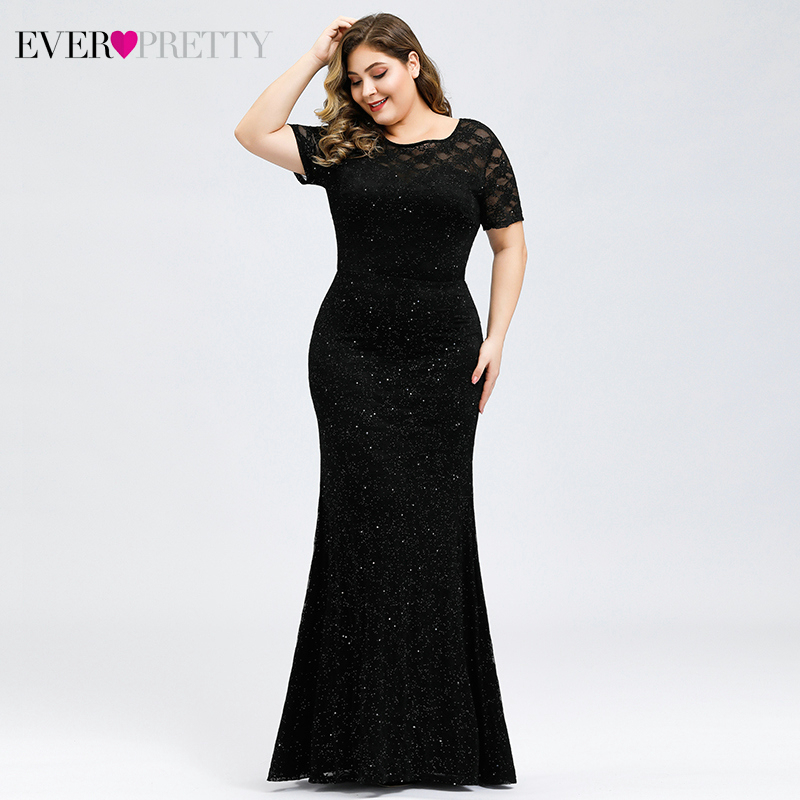 Sparkle Mermaid Prom Dresses Plus Size Ever Pretty O-Neck Short Sleeve Elegant Black Party Gowns For Women Vestidos De Gala