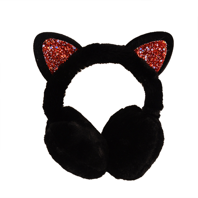 Fashion Cat Ears Shiny Earmuffs Winter Cute Cartoon Earmuffs Cute Earmuffs Cold Ear Warmer For Winter Warmer Winter Accessories