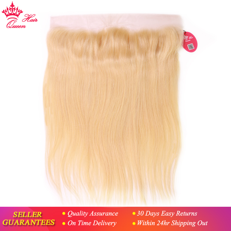 Queen Hair Brazilian Straight 613 Blond 13x4 Lace Frontal Remy Ear to Ear Human Hair Frontal Can be dyed Free Shippping image