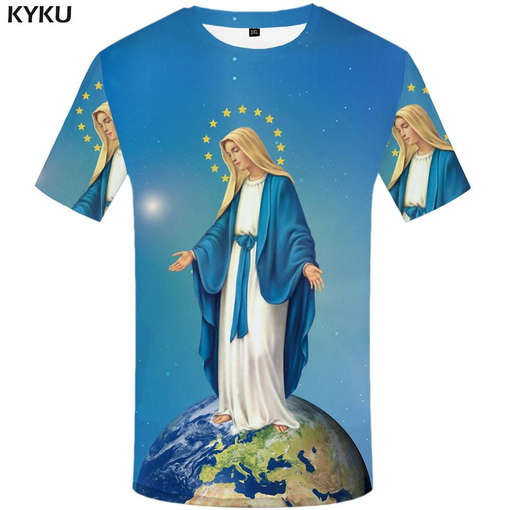 KYKU World Globe T-shirt Men Space Tshirts Casual Our Lady Anime Clothes Pentagram Funny T Shirts Leisure Tshirt Printed