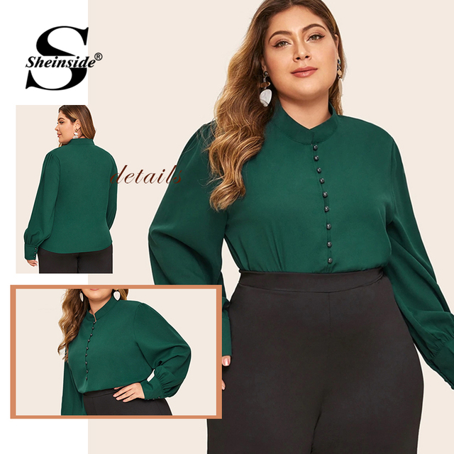 Sheinside Plus Size Elegant Green Stand Collar Blouse Women 2019 Autumn Button Up Detail Blouses Ladies Solid Minimalist Top 5