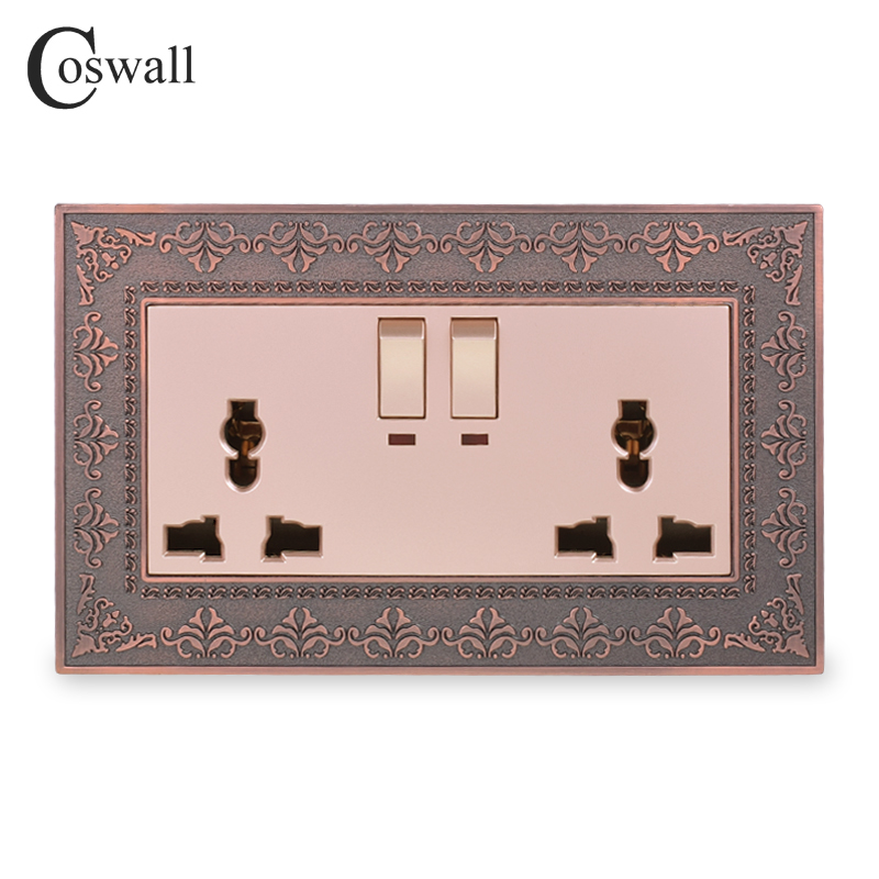 Coswall 2 Gang 13A Universal Switched Socket With Neon Embossing Retro Zinc Alloy Metal Panel Wall Power UK Outlet Gold Color
