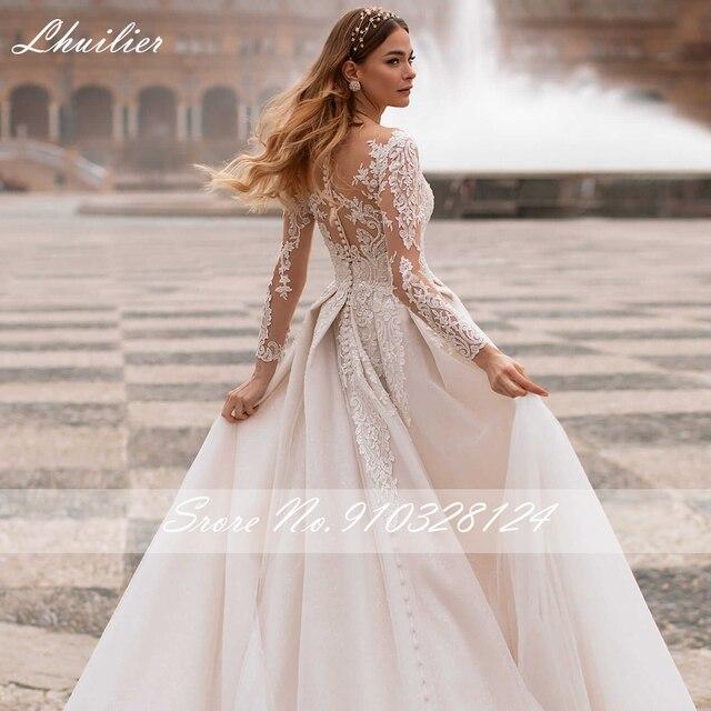 Lhuilier A-line Scoop Neck Beaded Wedding Dresses 2021 Lace Appliques Long Sleeves Court Train Floor Length Bridal Dress 4