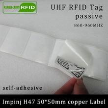 UHF RFID tag sticker Impinj H47 printable copper label 915m 860-960MHZ Higgs3 EPCC1G2 6C smart adhesive passive tags