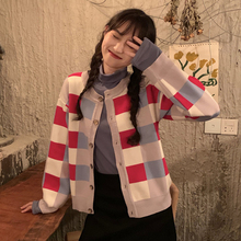 Harajuku Kawaii Cardigan Women All-match Hit Color Plaid Knitted Female Buttons Sweet Chic Korean Sweater Autumn Winter