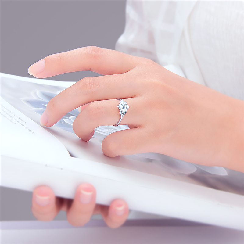 CLUCI Real Silver 925 Zircon Ring Gift Jewelry for Women Classic Wedding Engagement Ring in Rings from Jewelry Accessories