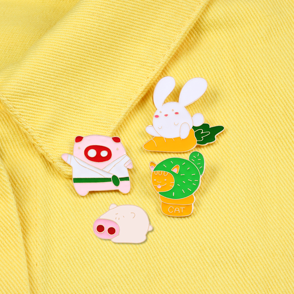 Rabbit Taekwondo Pig Cat Potted Enamel Pins Cartoon Animal Denim Lapel Badges Brooches Fashion Gifts Jewelry for Best Friend