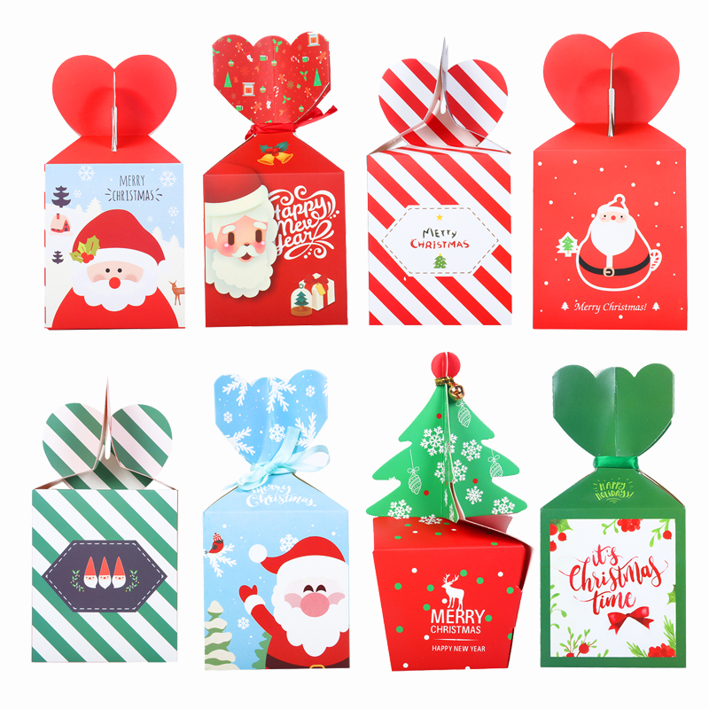5Pcs Christmas Tree-shape Gift Bags Candy/Snack Box Santa Decor For Gift Packing Treat Kids Or Guests 2020 New Year Home Decor