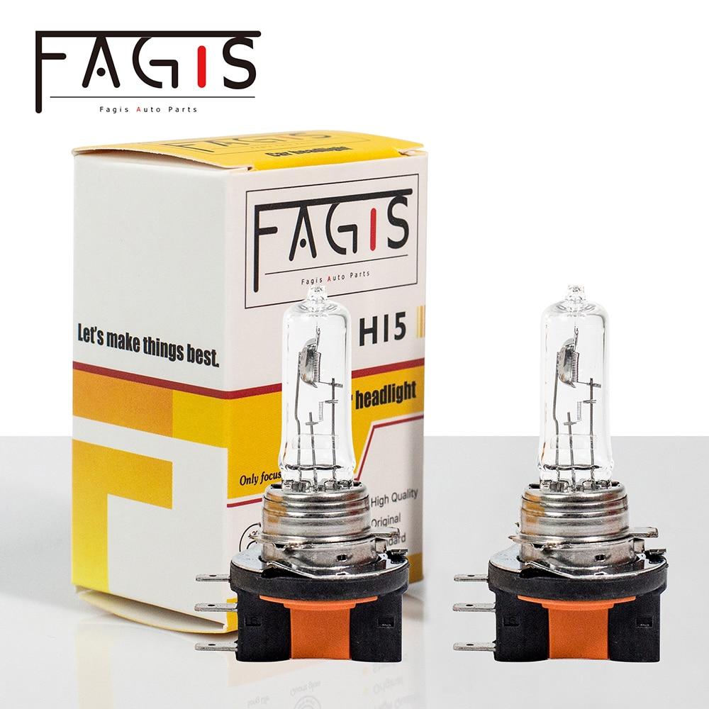 Fagis 2Pcs H15 12v 15/55w US Brand Transparent Glass Warm White Car Headlight Lamps Auto Halogen Bulbs Car Lights