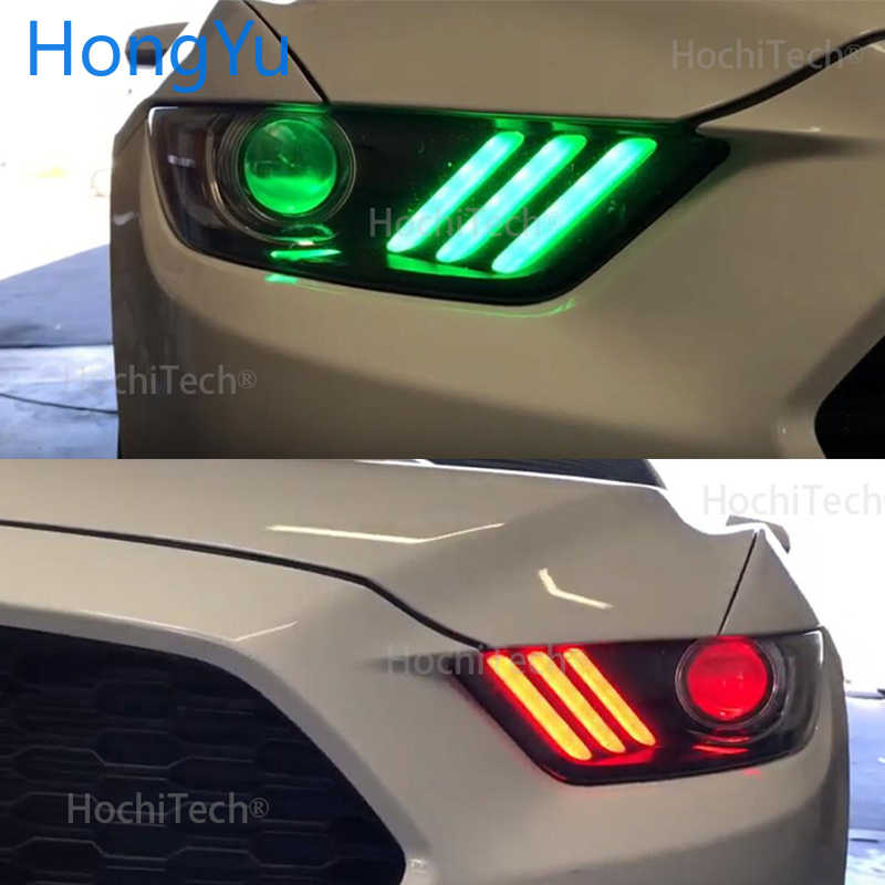 for Ford Mustang 2015 2016 2017 RGBW  Wireless control LED Angel Eyes Multi-color with Halo Ring Remote Control Headlight