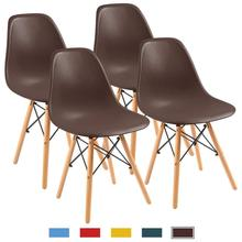 modern dining room chair shell lounge colorful plastic chair for kitchen dining bedroom study living room chairs 4 pcs Modern Dining Room Chairs Minimalist Creative Computer Office Chair Casual Home Living Room Back Plastic Coffee Bar Chairs 4 Pcs