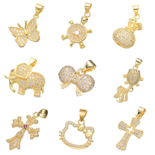 Juya DIY Gold Silver Color Rose Gold Butterfly Swan Turtle Cat Cross Cat Pendant Charms For Women Fashion Pendant Jewelry Making