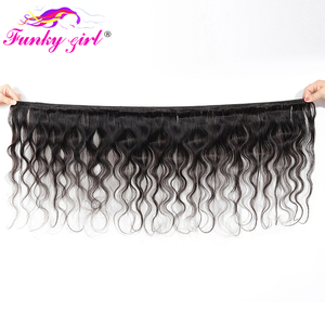 Image 2 - Funky Girl 3/4 bundles with frontal Peruvian Body Wave Human Hair Lace Frontal Closure With Bundles Non Remy Frontal With Bundle