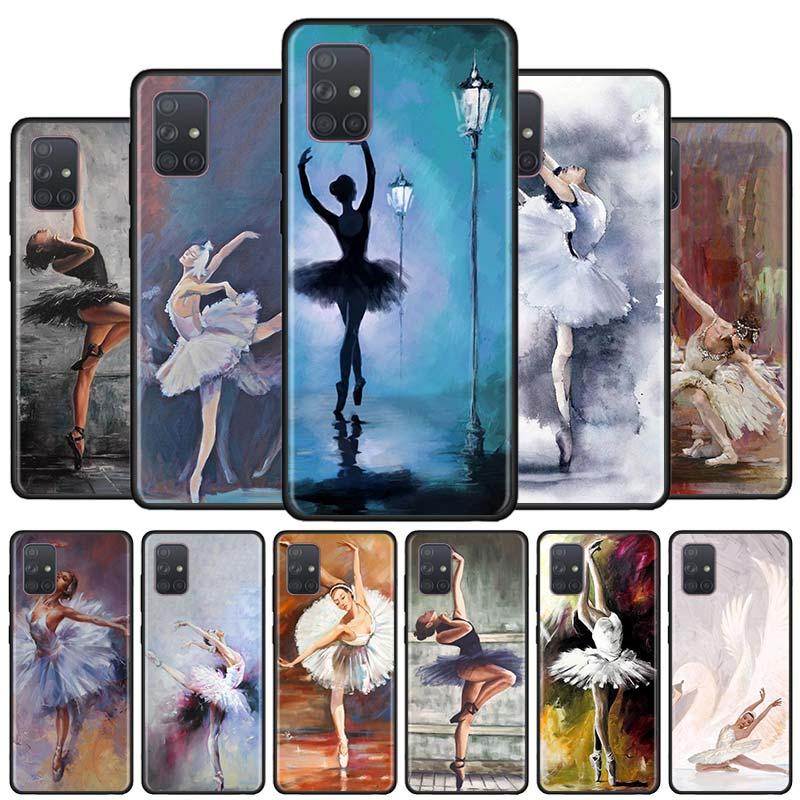 Ballet Ballerina Girl Black Soft Phone Case For Samsung Galaxy A50s A70s A51 A71 5G A10 A20 A30s A40 A31 A41 A91 Cover Capa