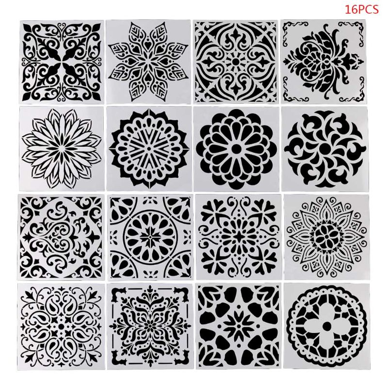 OOTDTY 16pcs/set Mandala Drawing Template Ruler Stencil Painting Board DIY Album Decor