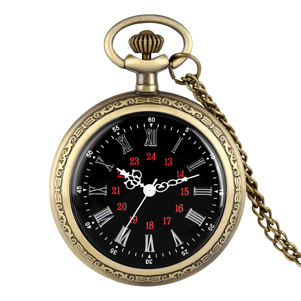 Retro Quartz Analog Pocket Watch Large Dial Steampunk No Cover Pendant Watches Bronze Necklace Chain Reloj De Bolsillo