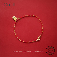 CMiLL 925 Sterling Silver Couple Charm Bracelet Rose Gold Color Lucky Red Thread String Rope Chain Bracelet Female Jewelry Gift(China)