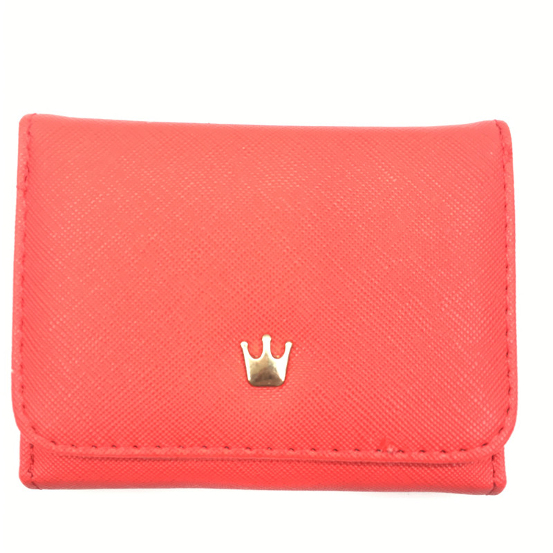 Женский кошелек, женские короткие кошельки, украшенные короной, Мини кошельки для денег, маленькие складные кошельки из искусственной кожи, женский кошелек, держатель для карт - Цвет: Red