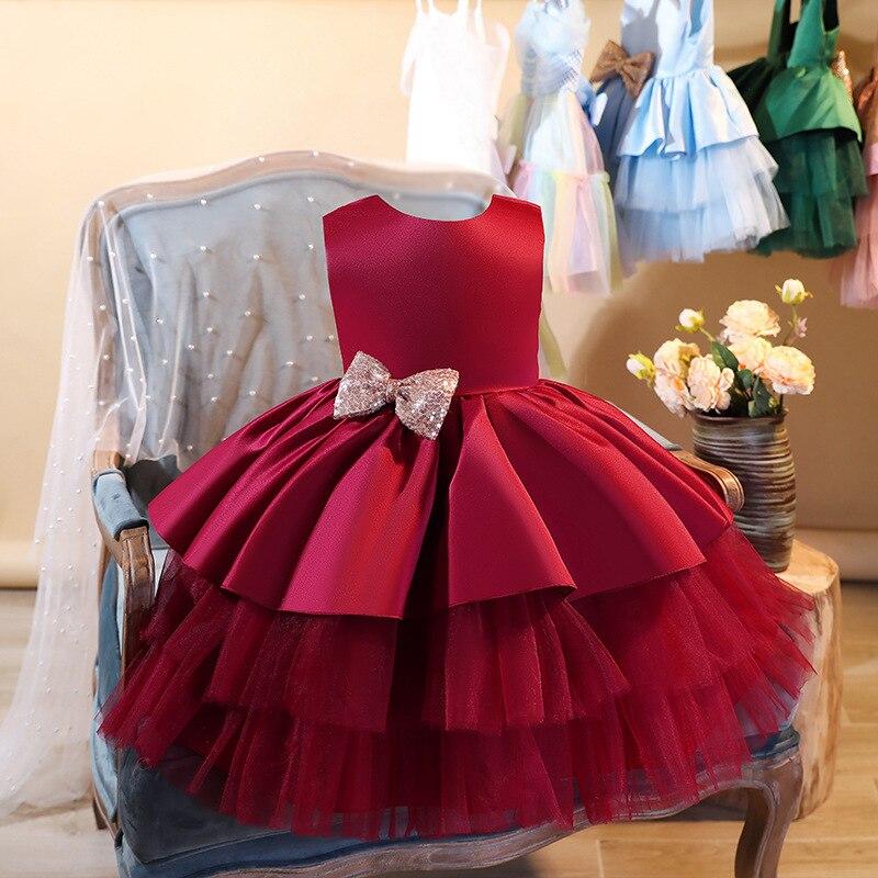 Lzh novo infantil vestido vermelho roupas recém-nascidos trajes do bebê arco princesa vestidos de festa para meninas do bebê vestido 1st ano vestido de aniversário