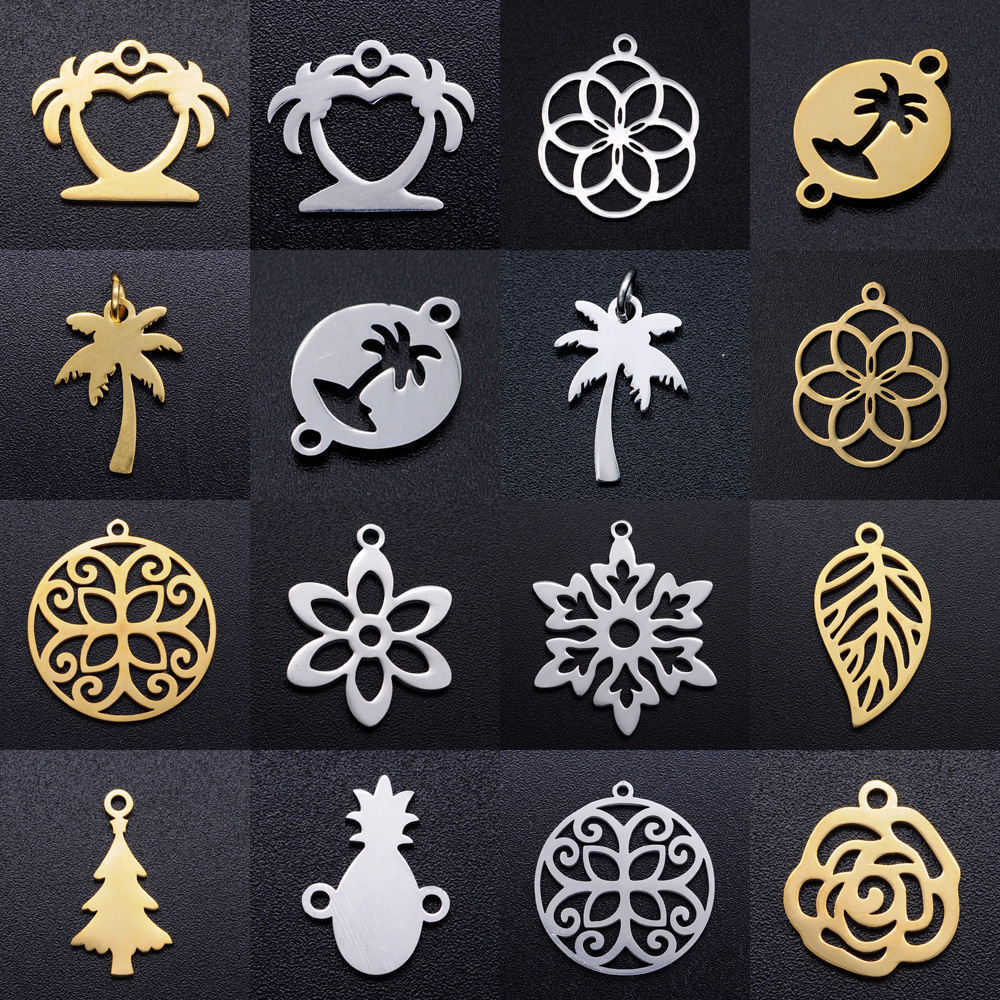 5pcs/lot Coconut Palm Tree DIY Charms 100% Stainless Steel Flower Leaf Pineapple Pendant Christmas Trees Connectors Charm