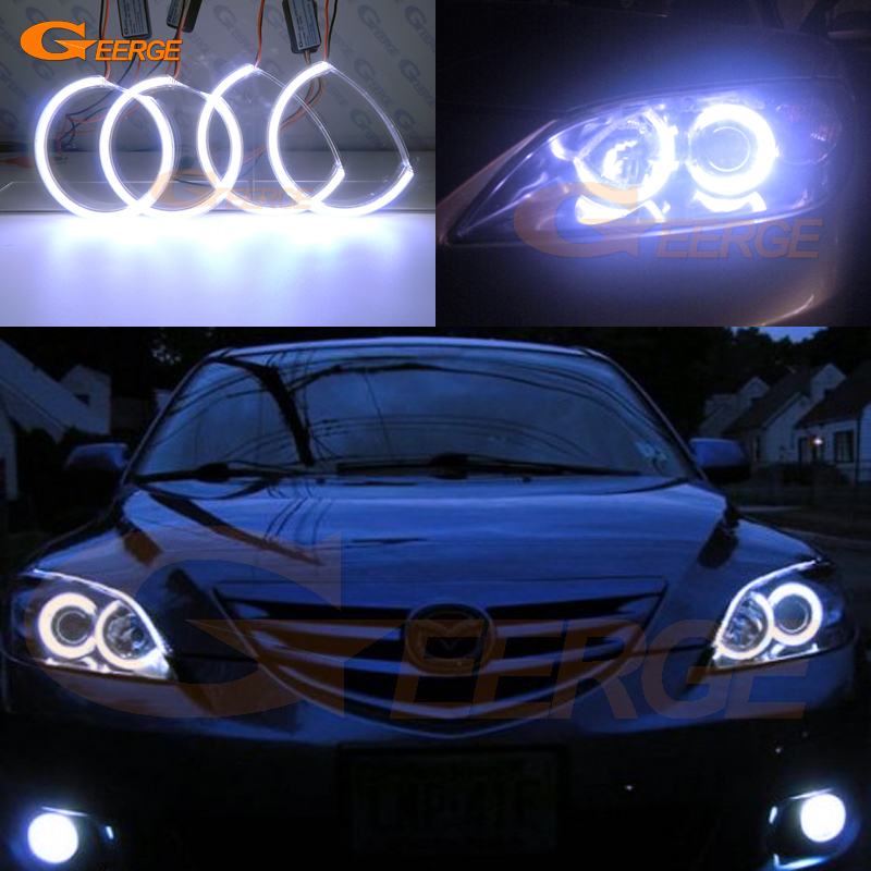 For Mazda 3 <font><b>mazda3</b></font> BK 2003 2004 2005 2006 <font><b>2007</b></font> 2008 Excellent Ultra bright illumination COB led angel eyes kit halo rings image