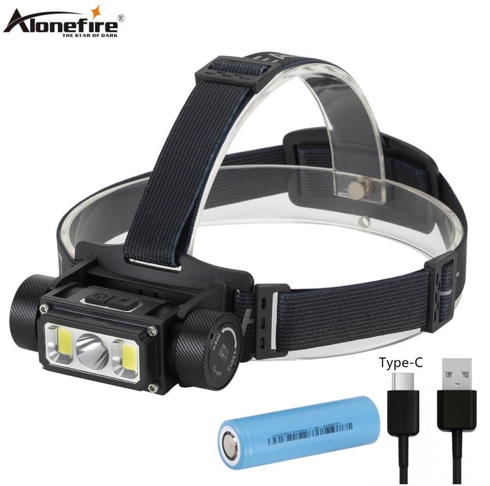 Alonefire HP43 Portable Led Headlamp XPG2+COB USB Rechargeable Headlight Waterproof Head Torch Head Lamp