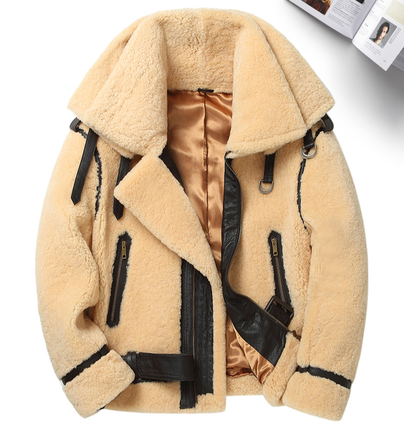 High Quality Men Winter Double Collar Real Fur Coat Mens Shearling Coat Lamb Fur Leather Jacket Men Short Sheepskin Wool Jacket