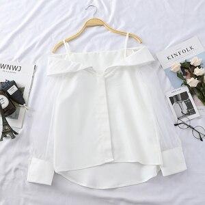 Image 3 - HELIAR Blouse pour femmes, épaules dénudées, Blouse en Organza avec bretelles ajustables, Spaghetti, Transparent, boutons, automne 2020