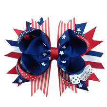 5 inch Many choices of the American flag element bowknot DIY craft hairpin hair accessories Independence day