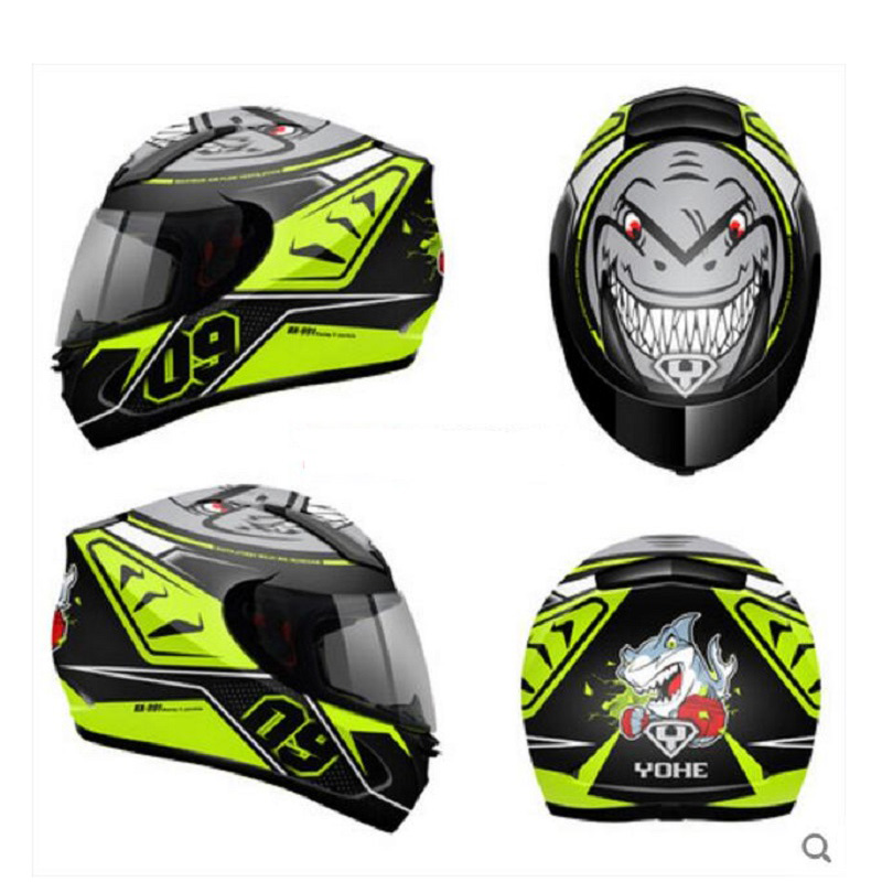 2019 New ECE-R 22/05 Certification YOHE Full Face Motorcycle Helmet Motorcross Motorbike helmets made of ABS with PC Lens visor